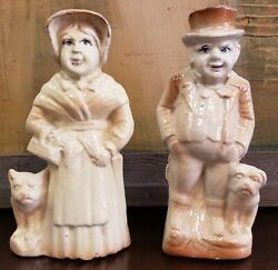 Mid 19th Cent. English Staffordshire Porcelain Man & Woman w Boston Terriers