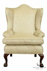 Antique Chippendale Style Custom Upholstered Mahogany Ball And Claw Wing Chair