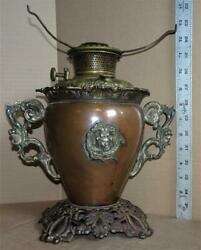 Antique Bradley And Hubbard Victorian Copper Gwtw Oil Lamp Base Bandh Parlor Lamp