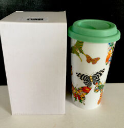 New Mackenzie Childs Butterfly Garden Double-wall Porcelain Travel Cup 14 Oz.