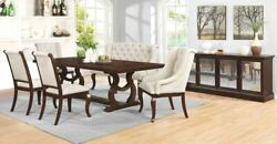 Antique Java Brown 104 Formal Dining Table And 6 Cream Chairs Furniture Set