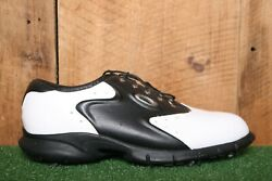 OAKLEY White amp; Black Leather Golf Cleats Spikes Shoes Men#x27;s Sz. 9 $34.95