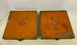 Vintage United Service Motors Lot Of 2 Metal Tray Parts Drawer Sign Advertising