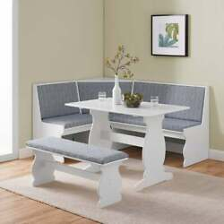 New Blue And White Top Breakfast Nook Dining Set Corner Booth Bench Kitchen Table