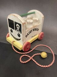 Vintage Playskool Dairy Wagon Wood Pull Toy With 5 Milk Bottles Retro Wooden Toy