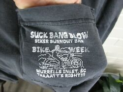 VTG T Shirt XXL Suck Bang Blow Biker Double Sided Graphic LS Harley Easy Rider $4.99