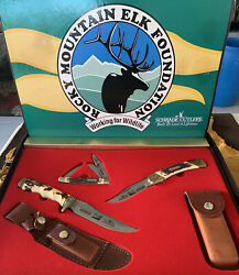 Rmef Knife Set Schrade 153uh 885uh Uncle Henry Lb8 10th Anniversary 1984-1994 Us