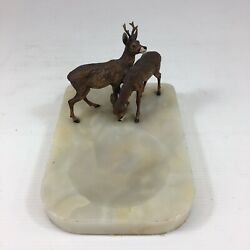 Cold Painted Bronze Deer Group Stag And Hind Mounted Onyx Ashtray