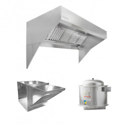 Hoodmart 9and039x48and039and039 Low Ceiling Sloped Front Wall Canopy Hood Package W/makeup Air