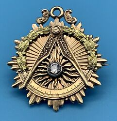 14kt 2 Color Gold Masonic Watch Fob/ Pendant/ Pin With Diamond W Master 1919