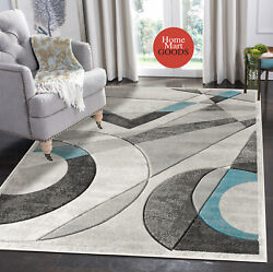 Brand New Soft Geometric Shapes Hand-carved Modern Contemporary Area Rug