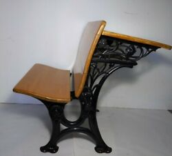 E. H. Stafford Mfg Co Chicago Antique School Desk And Chair Seat Cast Iron Wood