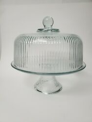 Vintage Cake Plate Pastry Stand Dome Ribbed Glass On Pedestal Base Collectible