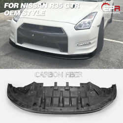 For Nissan R35 2012+ Gtr Oe Style Carbon Fiber Glossy Front Lip With Under Tray