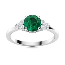 Solid 14kt White Gold 0.74 Ct Natural Green Emerald Certified Si Diamond Ring