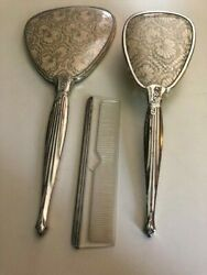 Antique Vintage Crocheted Embroidered Dresser Hand Mirror Brush And Comb Pre-owned