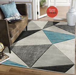 Brand New Soft Geometric Triangles Hand-carved Modern Contemporary Area Rug