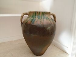 Large Antique 19th Century Terracotta French Confit Pot With Manganese Glaze