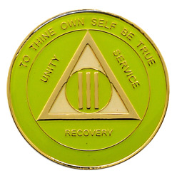 3 Year Aa Coin Lime Green Alcoholics Anonymous Anniversary Sobriety Medallion