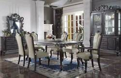 New Traditional Dark Brown Finish 7 Pieces Dining Room Table And Chairs Set Icar