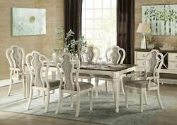 New Traditional Antique White Finish 7 Piece Dining Room Table And Chairs Set Ina0