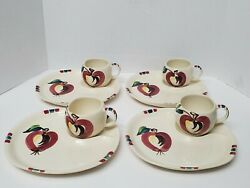 Vintage Purinton Apple Snack Plate And Cup Slip Ware Pottery Apple Design Set Of 4