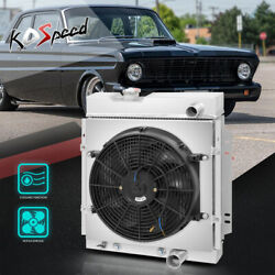 Aluminum Core 3-row Cooling Radiator W/fan Shroud For 63-66 Ford Mustang/falcon