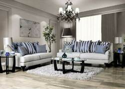 New Transitional Living Room Light Gray Fabric Sofa Couch And Loveseat Set Ird8