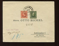Guam Scott 10 And 11 Overprint Used Stamps On Nice Registered Cover To Germany