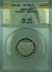 1858 Canada 20 Twenty Cents Silver Coin Anacs Au-50 Details Cleaned Wb1
