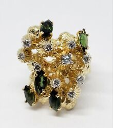 18k Yellow Gold Diamond Chrome Diopside Large Coral Reef Oceanic Nautical Ring