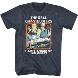 The Real Ghostbusters Busters And Ecto 1 Navy Heather Adult T-shirt