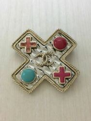 Chanel brooch gold cross motif colorful fashionable for women