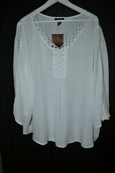 By Design Chic Blouse Boho Peasant Top Tunic White Rayon Blend Plus Size 2X $22.90