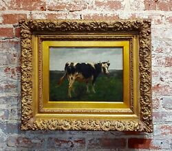 19th Century English School -portrait Of A Black And White Cow -oil Painting