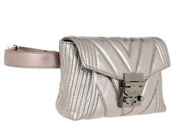 Mcm Patricia Metallic Berlin Silver Quilted Leather Crossbody Belt Bag 1025