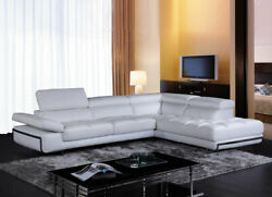 New Modern Living Room Furniture White Eco Leather Sectional Sofa Chaise Set Rws