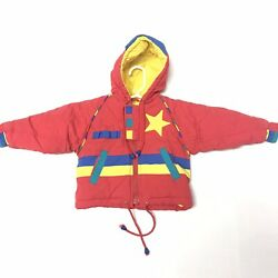 Vtg 90andrsquos Weestuff Snow Ski Coat Toddler Kids 24 Months Red Blue Yellow Hooded
