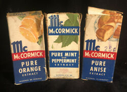 3 Vintage Mccormick Extract Bottles And Boxorangeanisepeppermint And Pure Mint