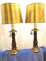 Pair Vintage Table Lamps Twisted Barley Vintage Gold Shades 60's 70's