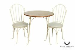 Charleston Forge Arch Hand Forged Iron Round Oak Table And 2 Chairs Bistro Set