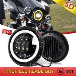 Upgraded 5d 7and039and039 90w Motorcycle Led Headlight H4 Hi-low Beam Amber Drl Halo Ring