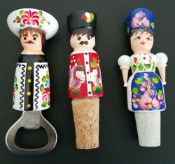 Hand Crafted And Painted Wooden Wine Stopper And Bottle Opener 3 Piece Vintage Set