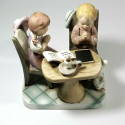 Vintage Praying Children Dining Table And A Dog Porcelain Figurines 6 Tall