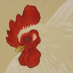 Japanese Painting Hanging Scroll Japan Chicken Hen Antique Old Art Picture 436p