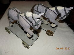 Vintage Hand Carved Wooden Pull Toys/ Horses W/wooden Wheels 2