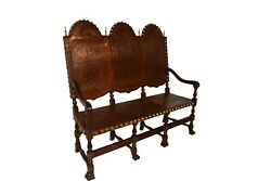 Vintage Spanish Revival Bench Leather And Decorative Tacks 1920and039s