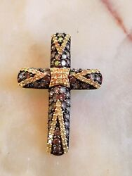Gorgeous 14k Gold Natural Chocolate/champagne And Yellow Diamond Cross Pendant