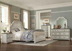 New Traditional Antique White And Brown 5 Piece Bedroom Set W. Queen Size Bed Ia67