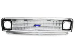 71-72 Chevy C10 Truck Polished Aluminum Outer And Inner Grille Shell W/blue Bowtie